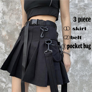 Elegant High Waist Belt Zipper Ribbon Pocket Pleated Mini Skirt