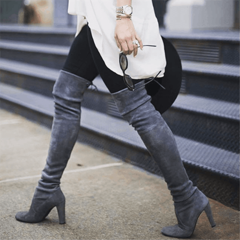 New Women Over The Knee High Boots Slip on Winter Shoes Thin High Heel