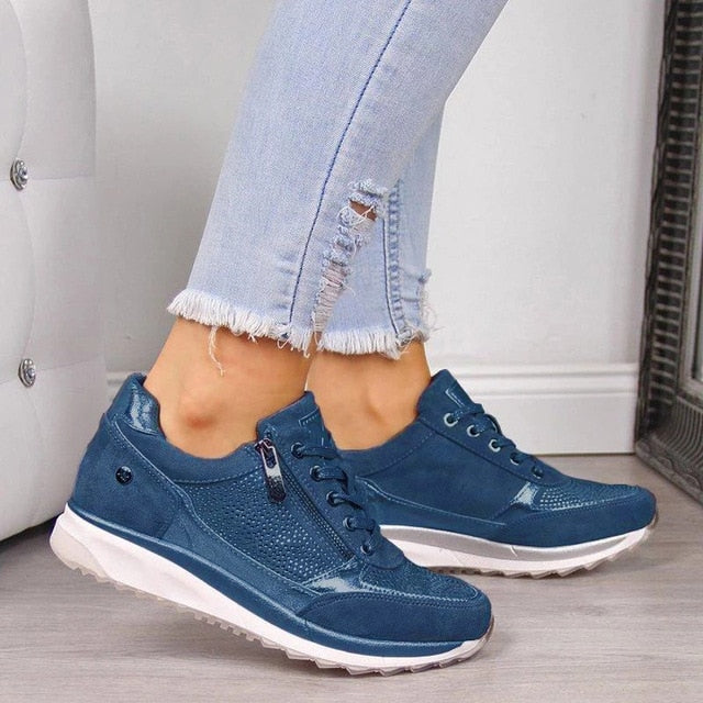 New Fashion Wedge  Flat Shoes Zipper Lace Up Comfortable Ladies Sneakers