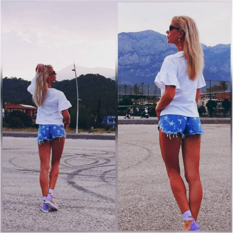 Women Shorts Fashion Frayed Tassel Denim