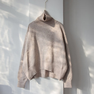 New Autumn Winter Women Loose Knitted Sweater Oversized Turtleneck Sweater