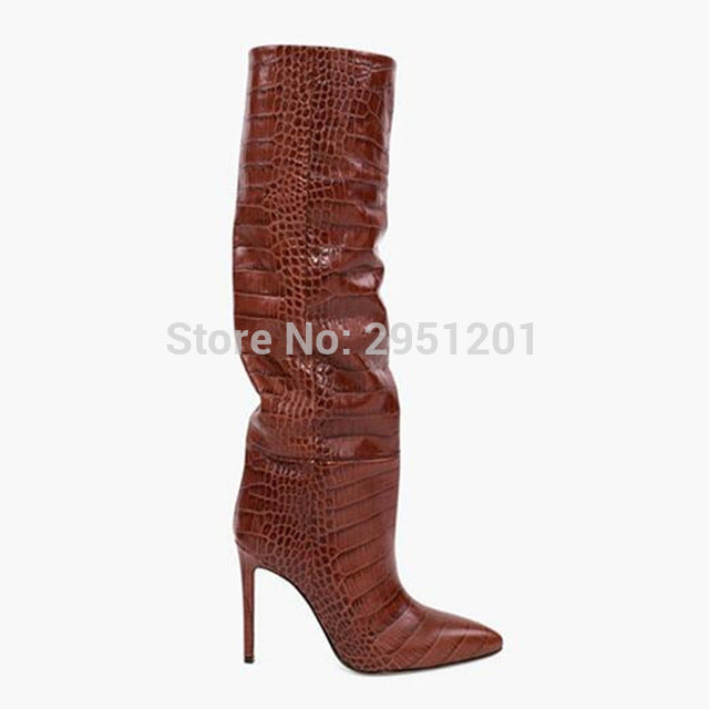 Colorful Snake Skin Boots Women High Heels Thin High Heel Knee Boot