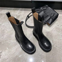 New Fashion Black Women Chelsea Boots Genuine Leather Ankle Boots