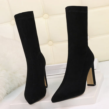 Plus Size High Heel Boots Sock Women Flock Shoes Sexy Party Thick Heel Ankle Booties