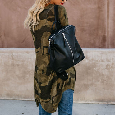 Army Camouflage Long Coat Plus size Long Sleeves Hoodies Women Coat