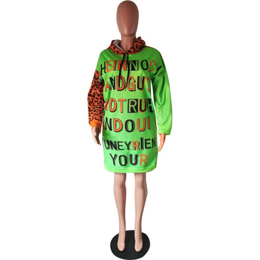 Leopard Letter Printed Sexy Neon Dress Women Long Sleeve Loose Mini T Shirt Dress Causal O-Neck Plus Size