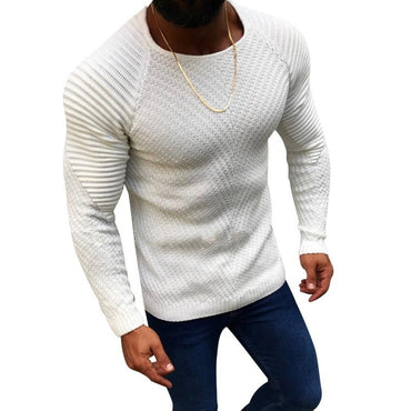 Men Fashion Knitted Pullovers New Male Solid Color O-neck Striped Long Sleeve Sweater
