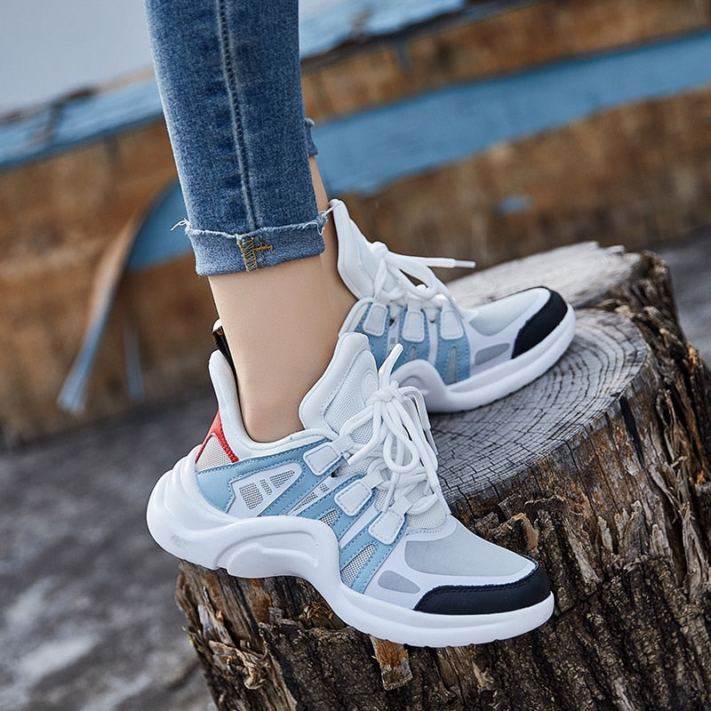 Women Sneakers 2020 Casual Breathable Mesh Chunky Shoes Female