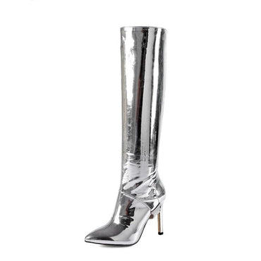 2020 New Gold Fashion Women Boots Pointed Toe Stilettos High Heels