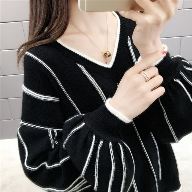 Autumn Winter 2020 New Knitted Sweater Women Loose wild Fashion V Neck