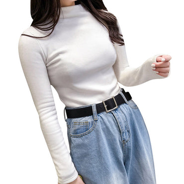 Sweaters Autumn Winter Women Long Sleeve Solid Pullover Turtleneck Velvet Basic Tops