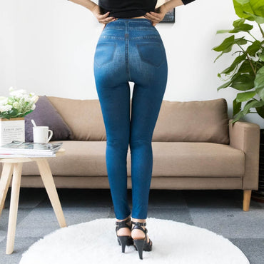 Fashion Slim Women Leggings Faux Denim Jeans Leggings