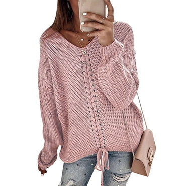 Womens Sweater Autumn Winter Tops V Neck Solid Lady Pullover Jumper Knit Long Sleeve Tops