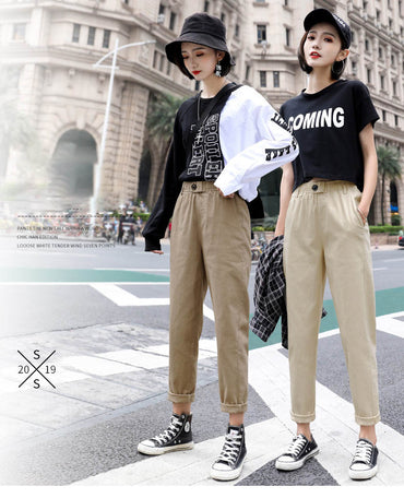 Fashion women loose mom jeans long trousers