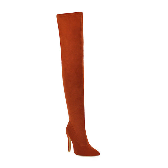 Plus Size 48 Fashion Thigh High Boots Women Soft Stretch Slim Long Over-the-Knee