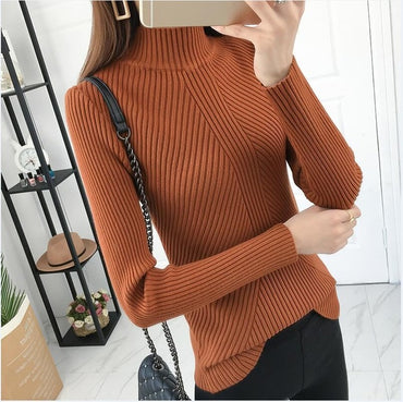 8 colors 2020 Autumn Women lady sweater high elastic Solid Turtleneck
