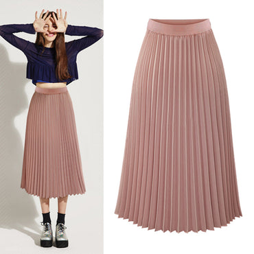 High Waist Pleated skirts womens Plus Size Spring Atumn Elegant Chiffon