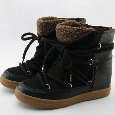 Botines Mujer Tan Suede Leather Lace Up Women Snow Boots Winter