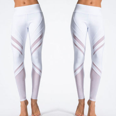 White Leggings Women High Waist Fitness Long Solid Stretch Mesh Patchwork