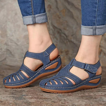 New Summer Shoes Women Sandals PU Buckle Ladies Retro Sewing Hollow Out