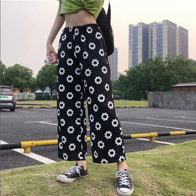2020 Women's Kawaii Chic Ins Trousers Casual Flower Loose Straight Pants