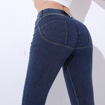 Workout Fake Pocket Peach Softener Pencil Pants Fashion Cotton Women Jeans