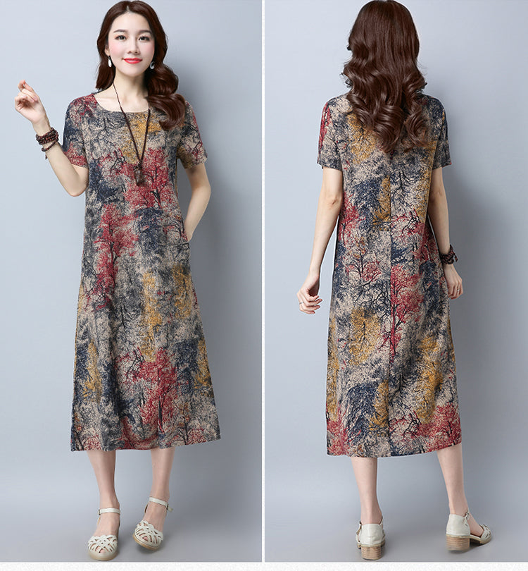 Casual Dress work Wear Printing Large size dress