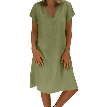 New Summer Casual V-Neck Short Sleeved Cotton Linen Dress Women Loose Plus Size