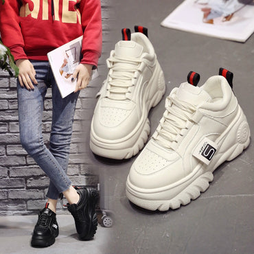 Fashion Woman High Platform Sneakers 2020 Spring Female Shoes  Black White Sneakers