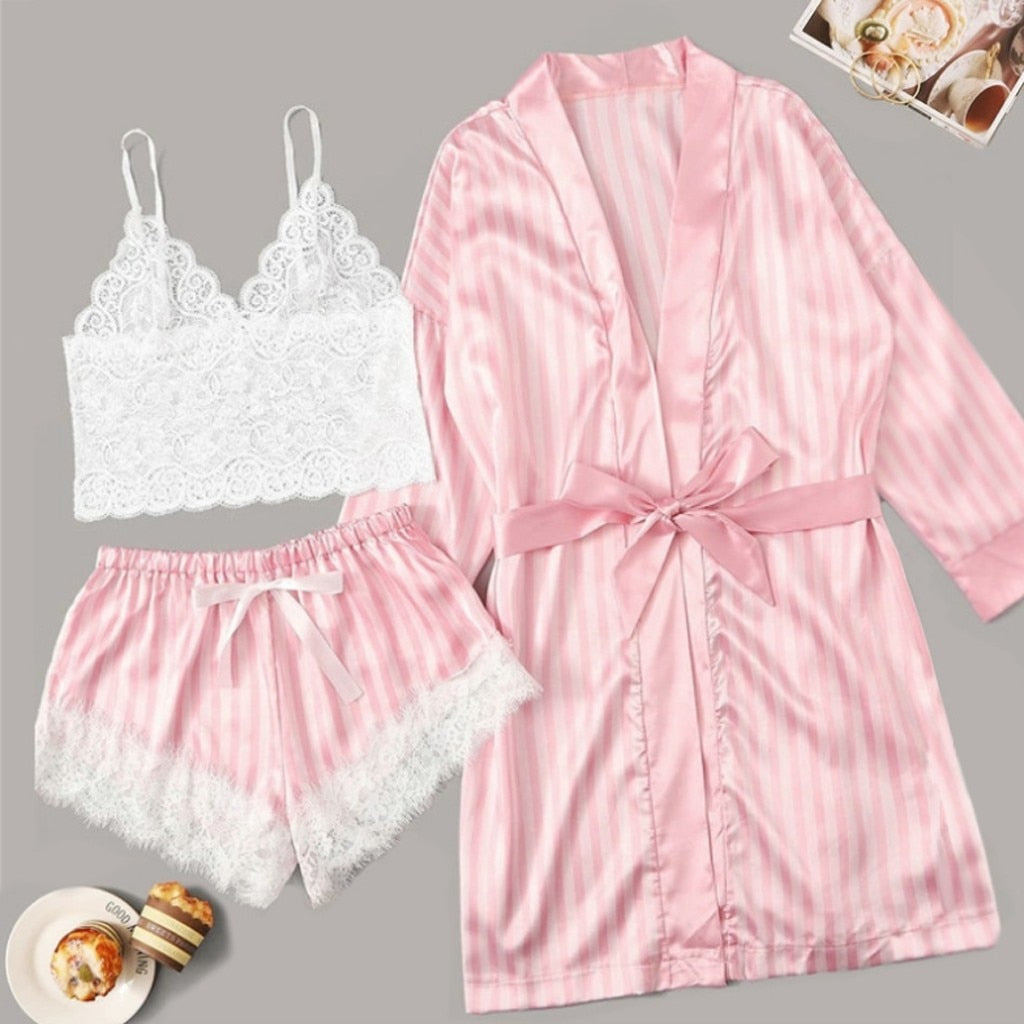 Nighties Women Pajamas Satin Sleepwear Pijama Silk Home Wear Lace Home