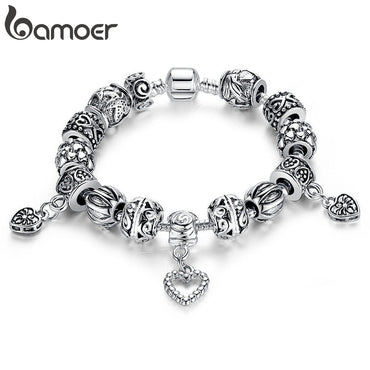 Antique Silver Charm Bracelet & Bangle Silver 925 With Heart Pendant for Women