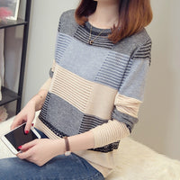 Spring autumn women sweater Korean color matching loose striped long-sleeved pullover Knitwear