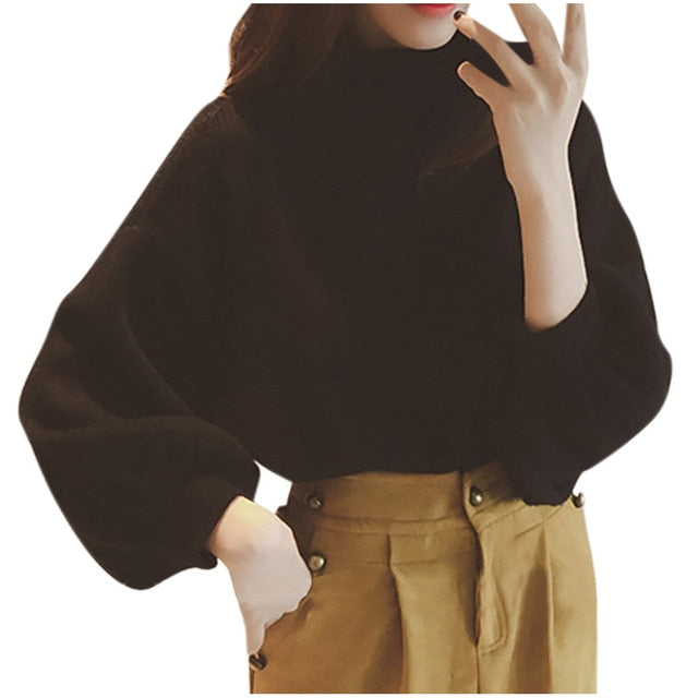 Autumn Winter Sweater Women Long  Lanter Sleeve Solid Turtleneck Knitting Tops