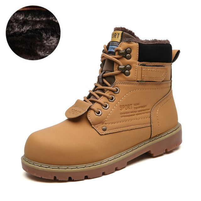 Winter Ankle Boots Men Casual Shoes Outdoor Autumn Leather Waterproof