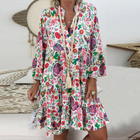 Summer Fashion Dresses Boho Beach Women Floral Print Long Sleeve Mini Dress Vintage Holiday Shirt Dress