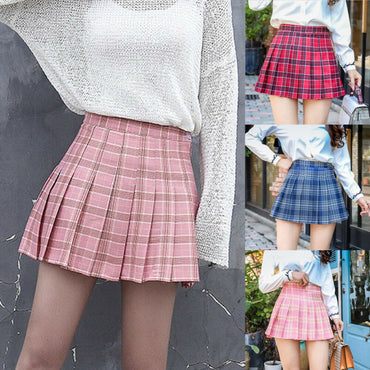 Fashion Mini Pleated Skirt Casual Loose Plaid Skirt