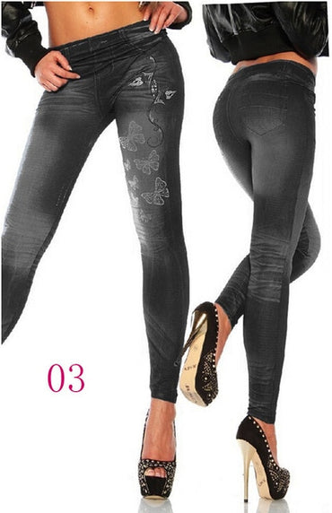 Fashion Jeggings Denim Look Fit Black Biue One Size