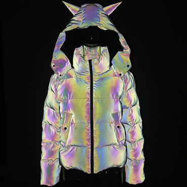 Winter Women Rainbow Reflective Horn Hooded Parkas Down Bubble Coat