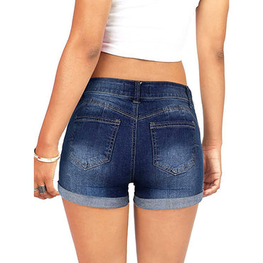 Women Low Waisted Washed Ripped Hole Short Mini Jeans Denim