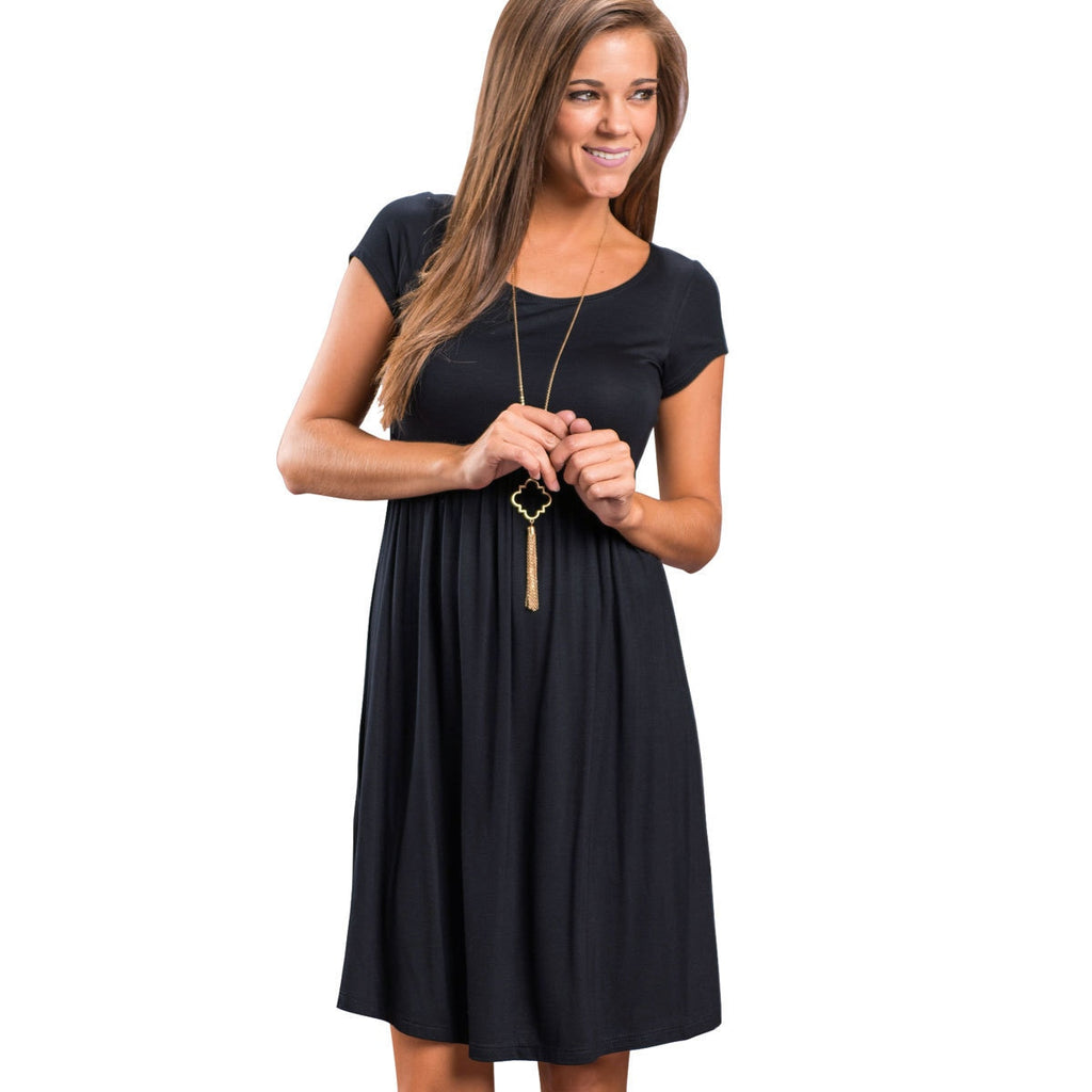 Hot Selling Crew Neck Short Sleeve Big Hemline Dress