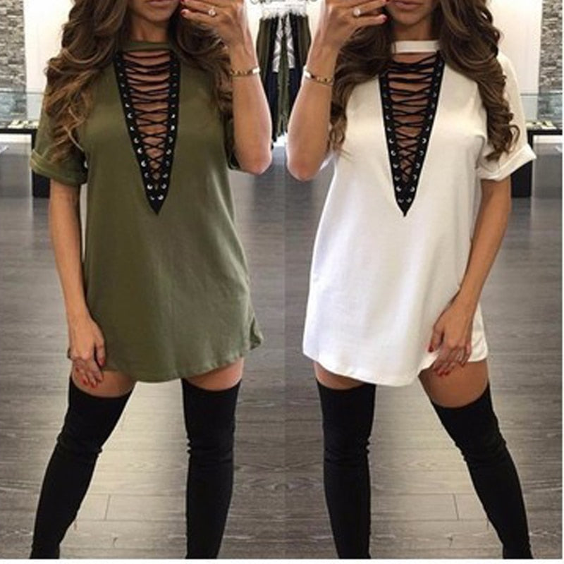 Sexy women's eye-deep v-neck short-sleeved dress