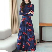 Winter Lady Elegant O-Neck Long Sleeve Printing Long Dress Elegant