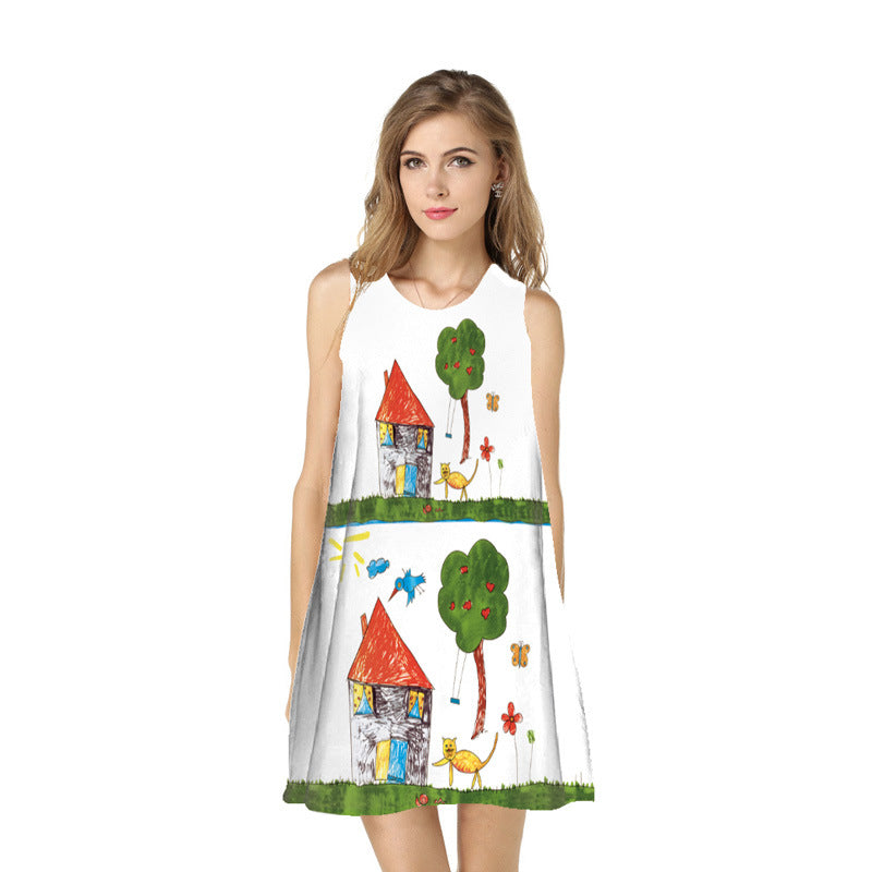 New Style Digital Printing Dress Europe And America Ouma