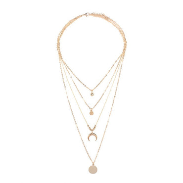 Women Multilayer Choker Horn Long Crescent Moon Pendant Chain Necklace