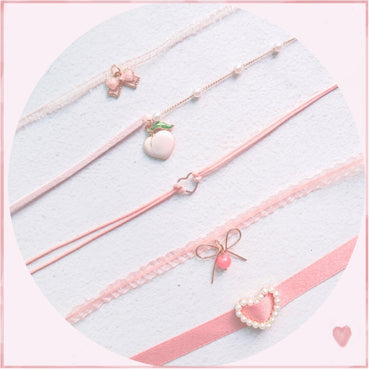 Japanese Korea 2020 Spring New Pink Peach Heart Pendant Choker Short Clavicle Necklaces
