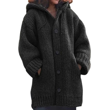 Autumn Women Long Cardigan Solid Hooded Sweater Long Coat