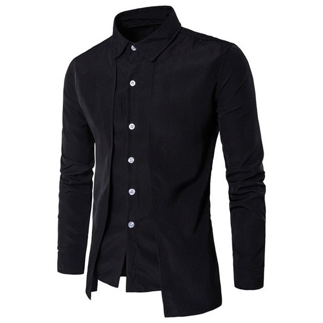 Men Shirt Stand Collar Long Sleeve Shirt Fashion Solid Slim Suit