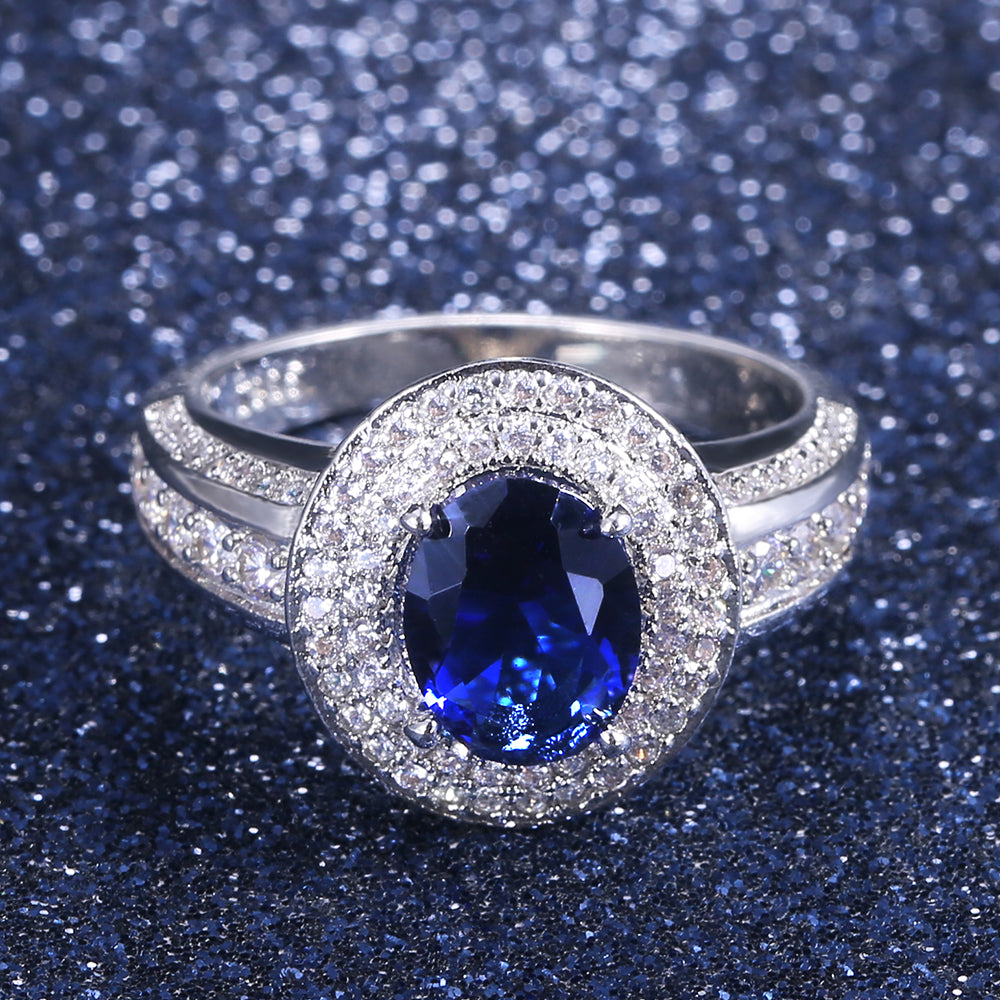 Vintage Solitaire Deep Blue Cubic Zircon Stone Party Ring