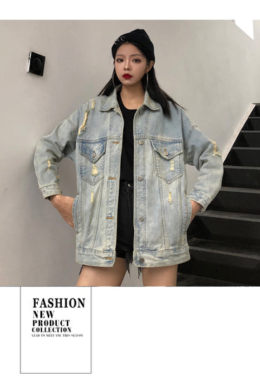 Autumn new denim jacket female retro loose printed coat