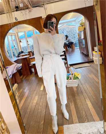 Women Harem Jeans Pants Fashion High Waist Loose White